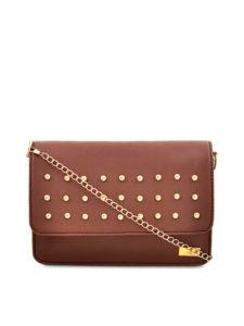 yelloe Tan Brown Embellished Sling Bag