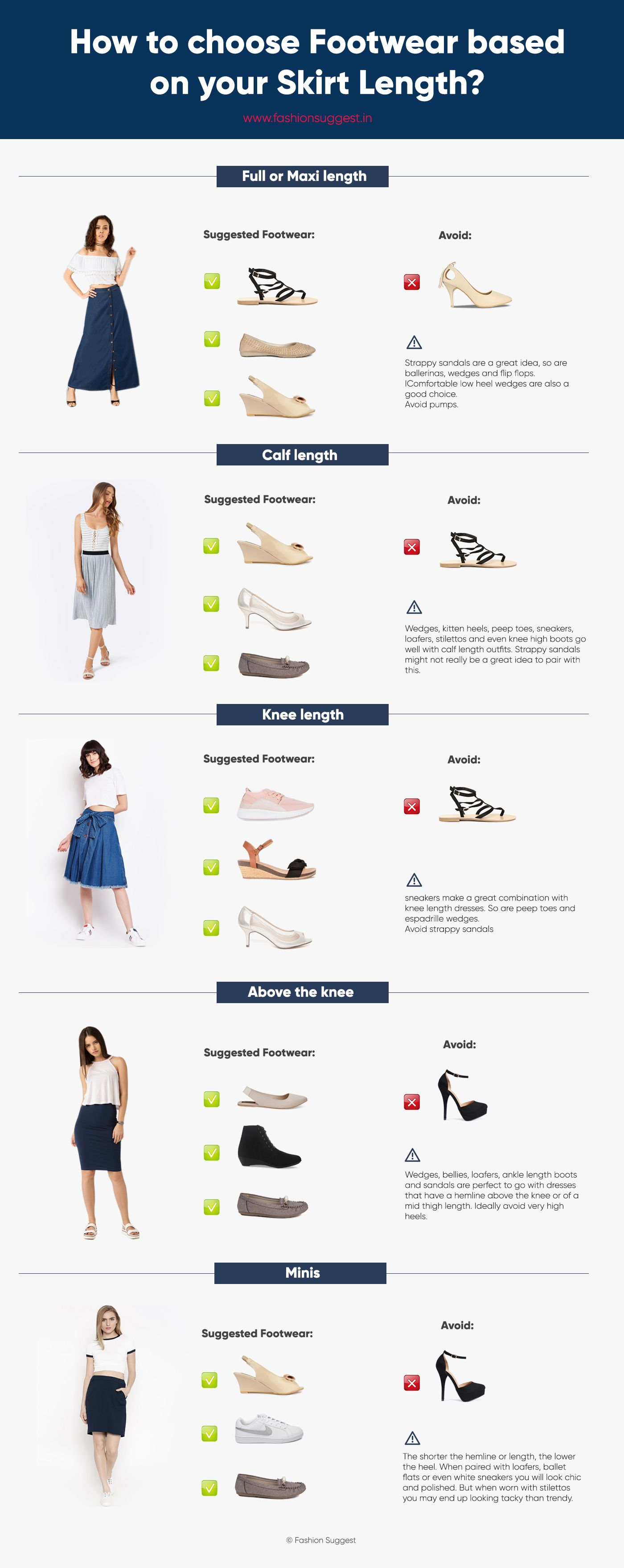 Skirt length and footwear guide