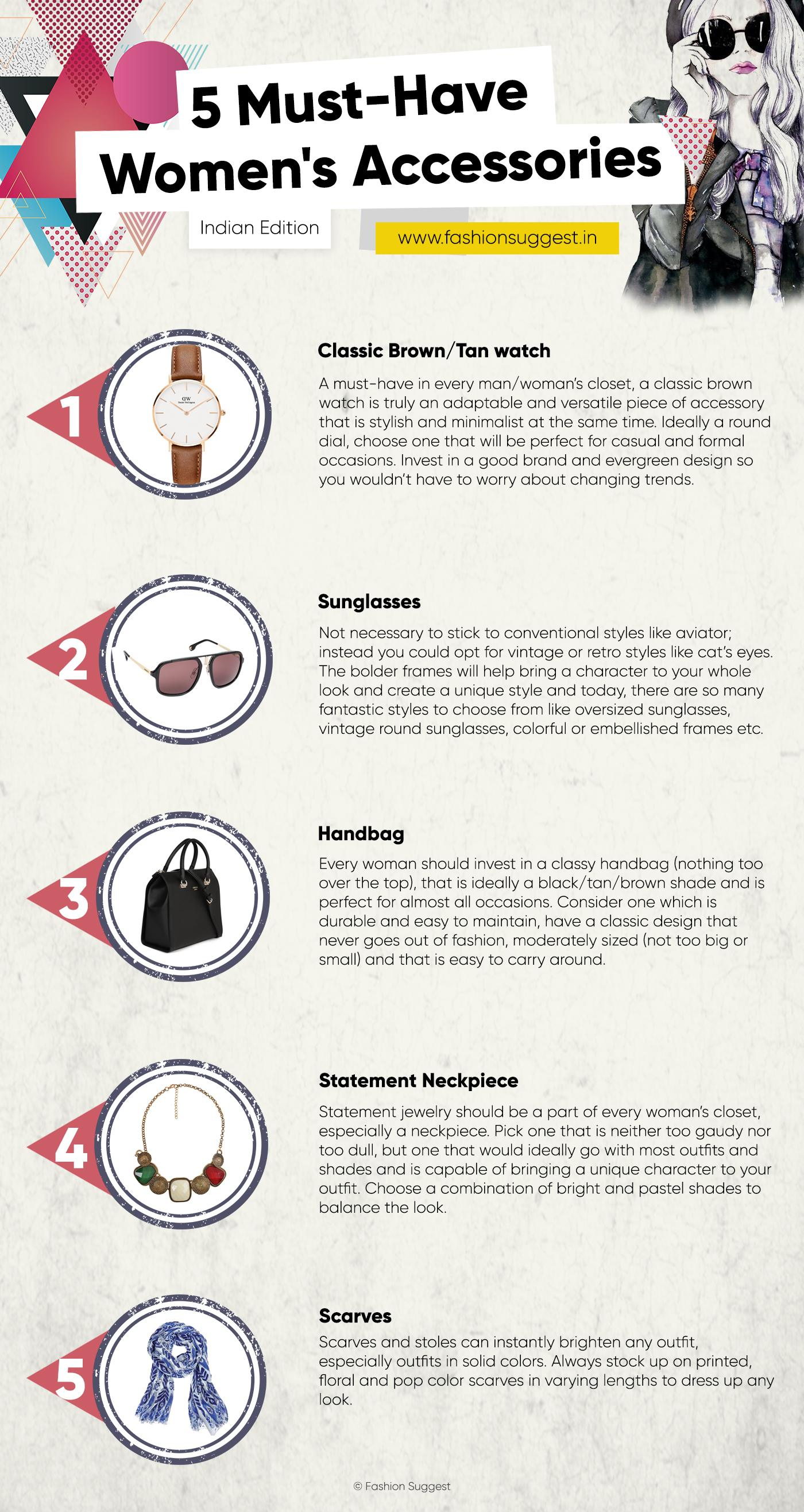 5 Must have womens accessories infographic