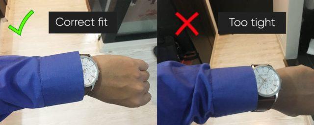 Cuff size and watch