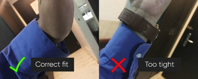 Shirt cuff and wrist gap