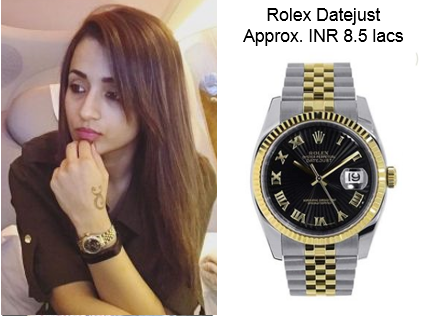 Trisha Rolex Datejust Stainless Steel and Yellow Gold Black Roman Dial Gold Watch